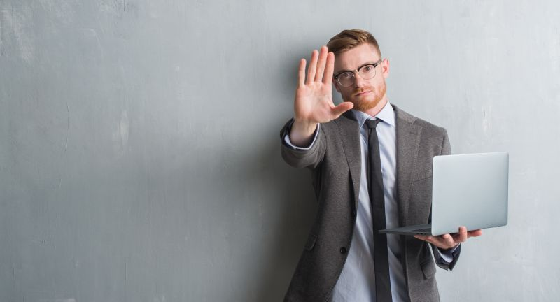 Young, man, boy, adult, redhead, beard, caucasian, grey, grunge, wall, laptop, using, business, management, boss, computer, monitor, standing, technology, elegant, stop, hand, sign, gesture, palm, no, symbol, warning, showing, casual, serious, expression, finger, forbidden, hold, confident, protection, danger, halt, defense, prohibited, negative, denial, illegal, limits, pushing, refuse, holding, security, control, young, man, boy, adult, redhead, beard, caucasian, grey, grunge, wall, laptop, using, business, management, boss, computer, monitor, standing, technology, elegant, stop, hand, sign, gesture, palm, no, symbol, warning, showing, casual, serious, expression, finger, forbidden, hold, confident, protection, danger, halt, defense, prohibited, negative, denial, illegal, limits, pushing, refuse, holding, security, control