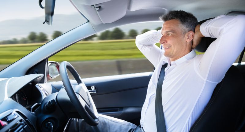 drive, autonomic, self, car, driving, interior, man, male, men, sitting, old, older, people, happy, person, cars, robot, sit, wheel, side